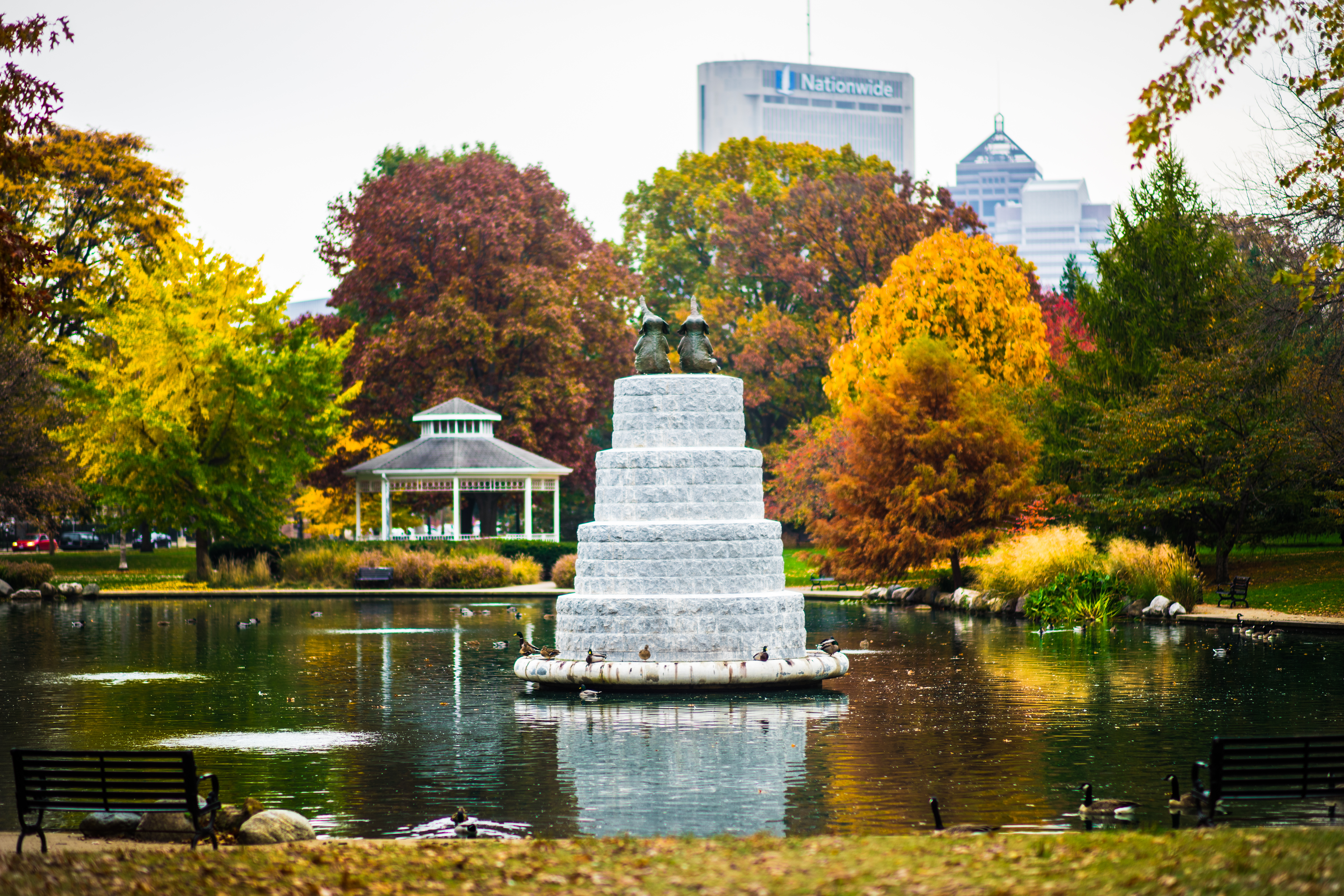 Goodale Park's Elephant Fountain in the fall, autumn of Columbus, Ohio. Located in Columbus, Ohio, Lykens Companies serves Columbus, Ohio's urban core with an eye toward historical preservation and restoration. We are deeply involved in the Short North, Victorian Village, Italian Village, Olde Towne East, and Weiland Park communities. We are a landlord, property management, and property development company. We create the best Short North apartments and rentals: Short North Apartment Rentals and Apartments, Wonder Bread, houses for rent in Columbus, Ohio, Downtown apartments and Downtown Columbus rentals and apartments. For rent!